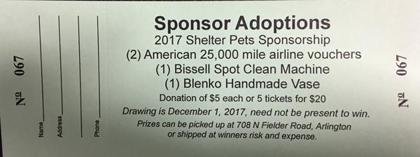 2017 Shelter Pets Sponsorship Raffle